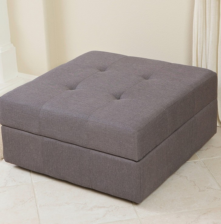 Permalink to Grey Fabric Storage Ottoman