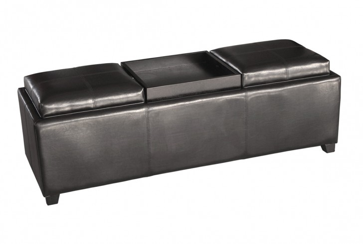 Permalink to Grey Storage Ottoman With Tray