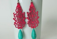 Hot Pink Chandelier Earrings