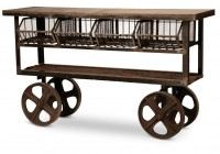 Industrial Console Table With Wheels