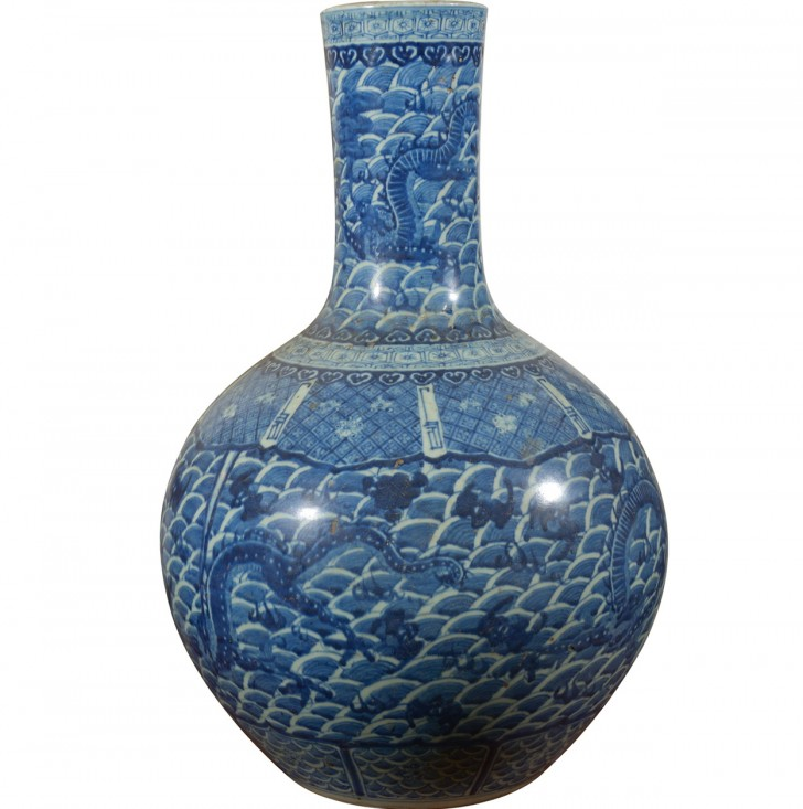 Permalink to Large Blue And White Vase