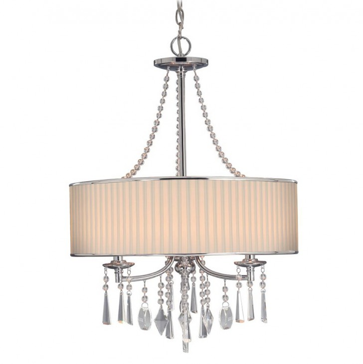 Permalink to Large Drum Shade Chandelier With Crystals