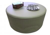 Large Leather Ottoman Round