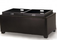 Leather Cube Ottoman With Tray