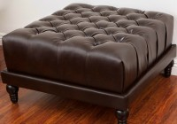 Leather Tufted Ottoman Dark Brown