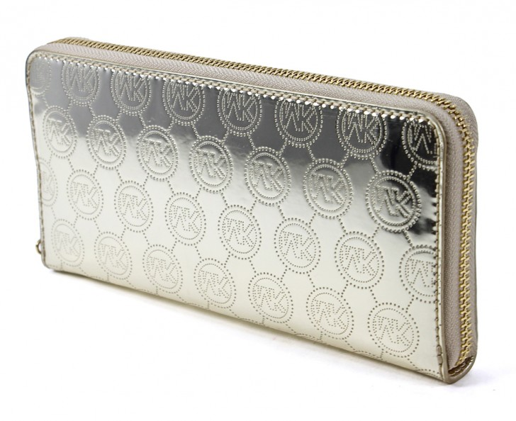 Permalink to Michael Kors Pale Gold Signature Mirror Metallic Zip Around Continental Wallet