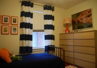 Navy Blue Striped Curtains