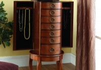 Powell Mirrored Jewelry Armoire With Silver Wood