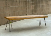 Reclaimed Wood Bench Hairpin Legs