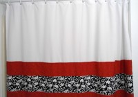 Red And White Window Curtains