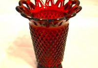 Red Glass Vase Vintage