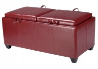 Red Storage Ottoman With Tray