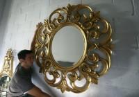 Round Antique Gold Mirror