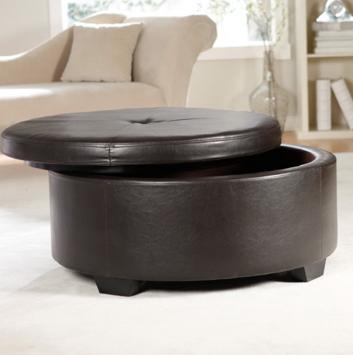 Permalink to Round Leather Ottoman Coffee Table With Storage