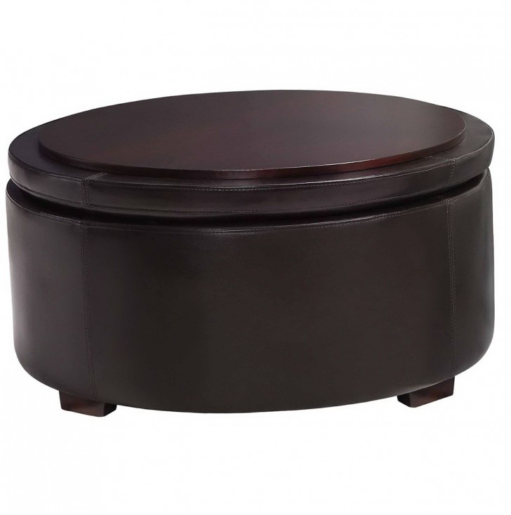 Permalink to Round Leather Ottoman With Storage