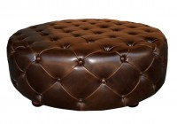 Round Leather Tufted Ottoman