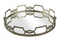 Round Silver Mirrored Tray