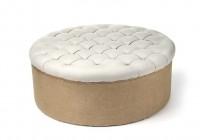 Round White Tufted Ottoman