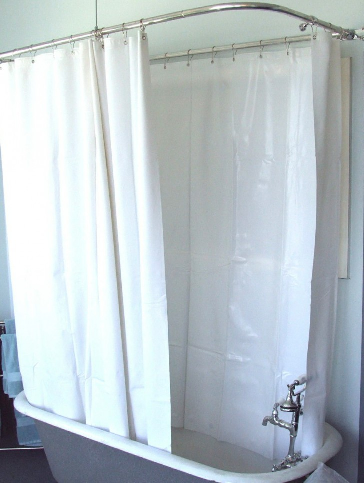 Angled shower curtain