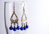 Silver And Blue Chandelier Earrings