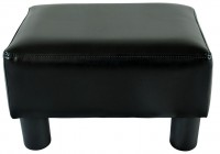 Small Black Leather Ottoman