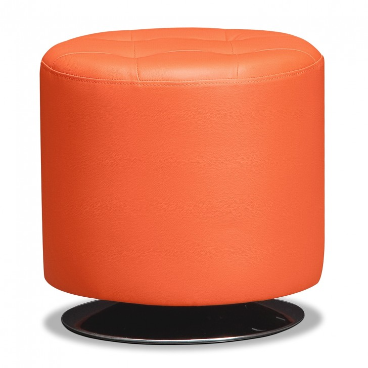 Permalink to Small Round Leather Ottoman
