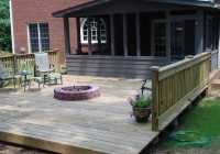 Stone Fire Pit On Wood Deck