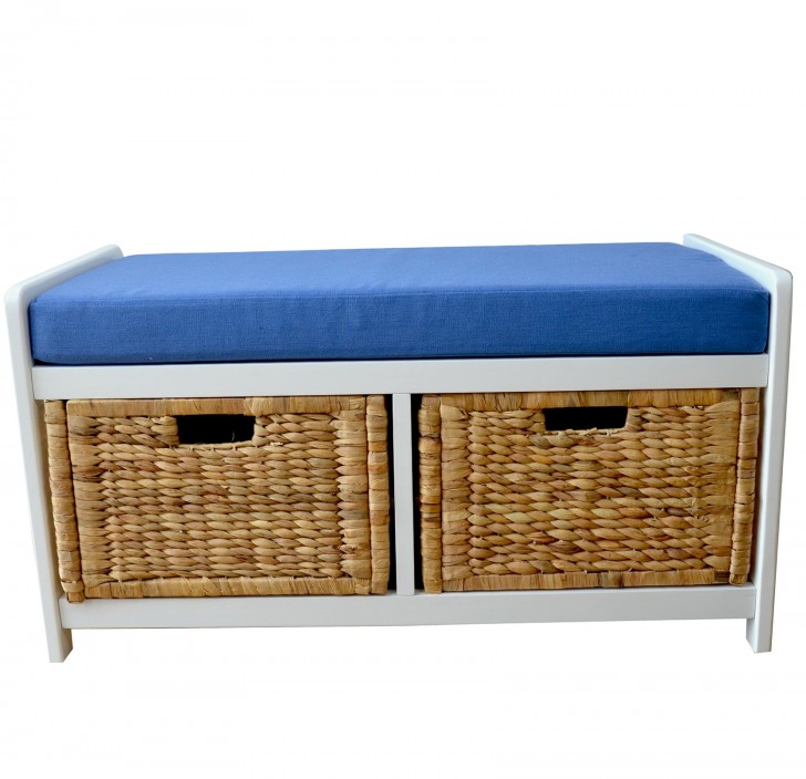 Permalink to Storage Bench With Baskets And Cushion