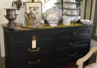 Vintage Black Dresser With Mirror