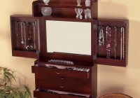 Wall Mount Mirror Jewelry Cabinet