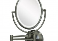 Wall Mounted Lighted Makeup Mirror Brushed Nickel