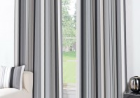 white and gray striped curtains