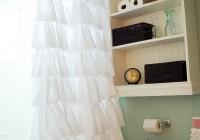 white cotton ruffle shower curtain