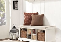 White Entryway Storage Bench