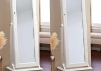 White Floor Mirror Jewelry Armoire