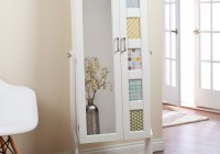 White Floor Mirror With Jewelry Storage