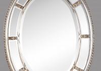 White Framed Oval Bathroom Mirror