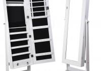 white full length mirror with jewelry storage