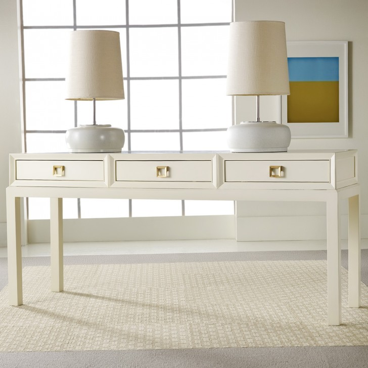 Permalink to White Lacquer Console Table With Drawers