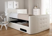 White Leather Ottoman Bed