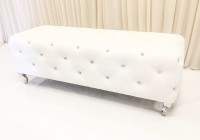 White Leather Ottoman Bench