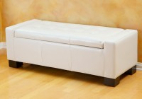 White Leather Ottoman Storage