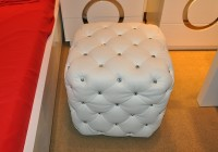 White Leather Tufted Ottoman