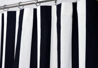 White Shower Curtain With Navy Border