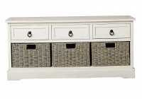White Storage Bench With Baskets