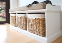 White Storage Bench With Baskets And Cushion