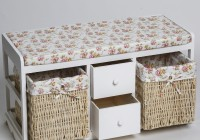 White Wicker Storage Bench