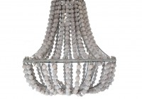 White Wooden Bead Chandelier