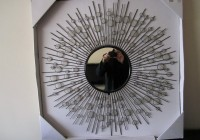 Wire Capiz Sunburst Wall Mirror