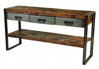 Wood Metal Console Table